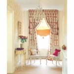 Cheap curtains with red circle motif