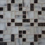 Checkered Ice Glass Backsplash Design
