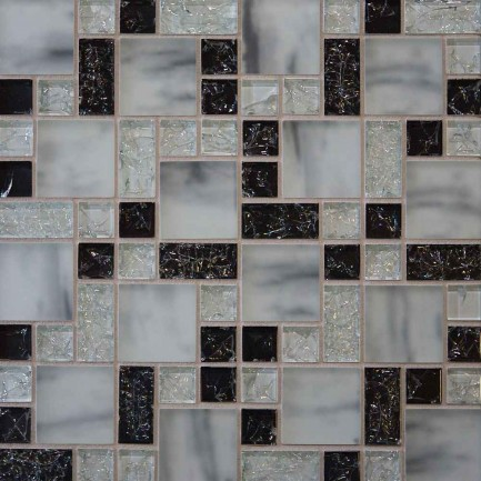 Checkered Ice Glass Backsplash Design