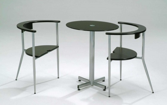 Contemporary mini oval table cafe with two chairs