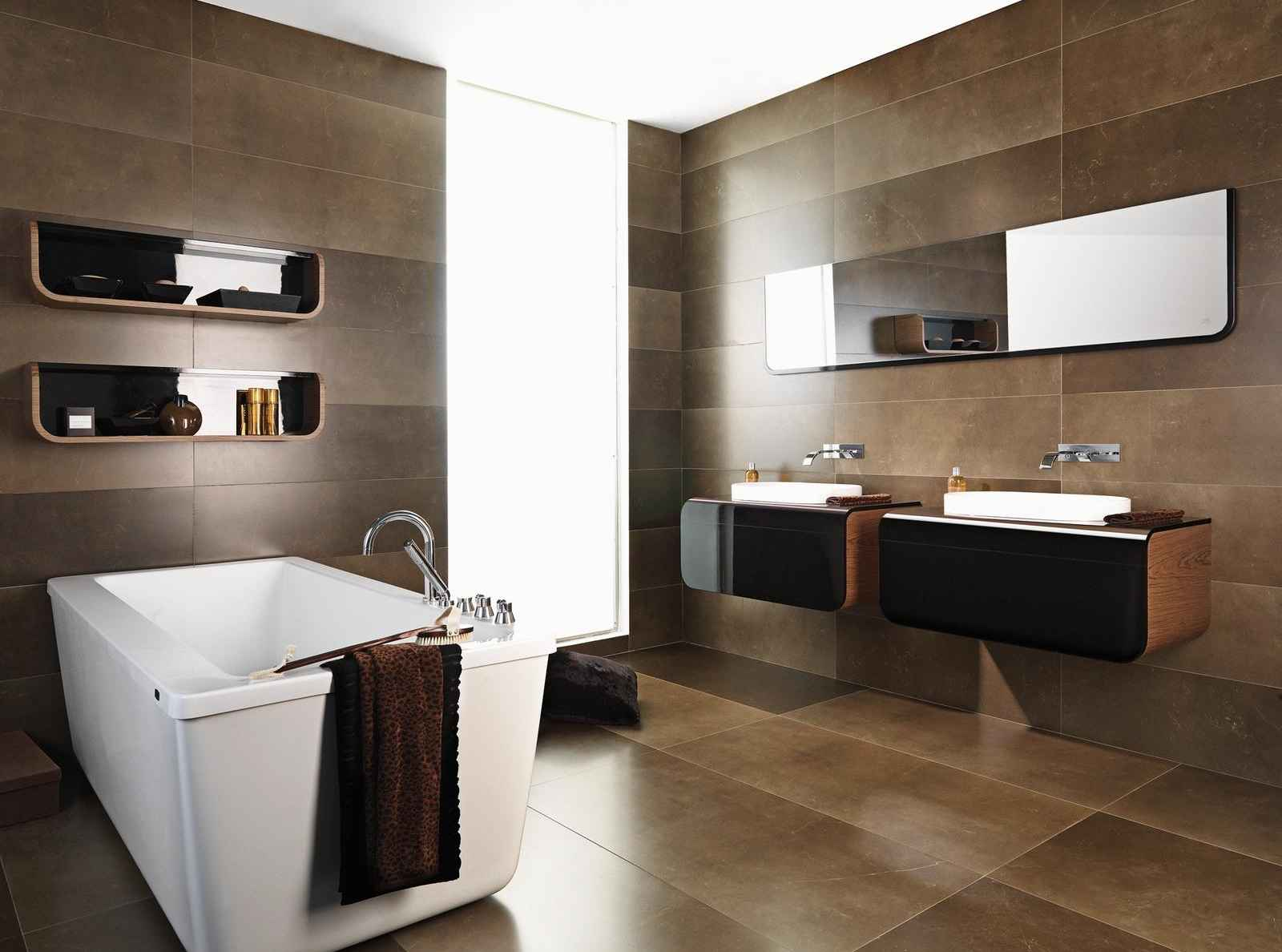 Durable bathroom ceramic tile with natural stone accent