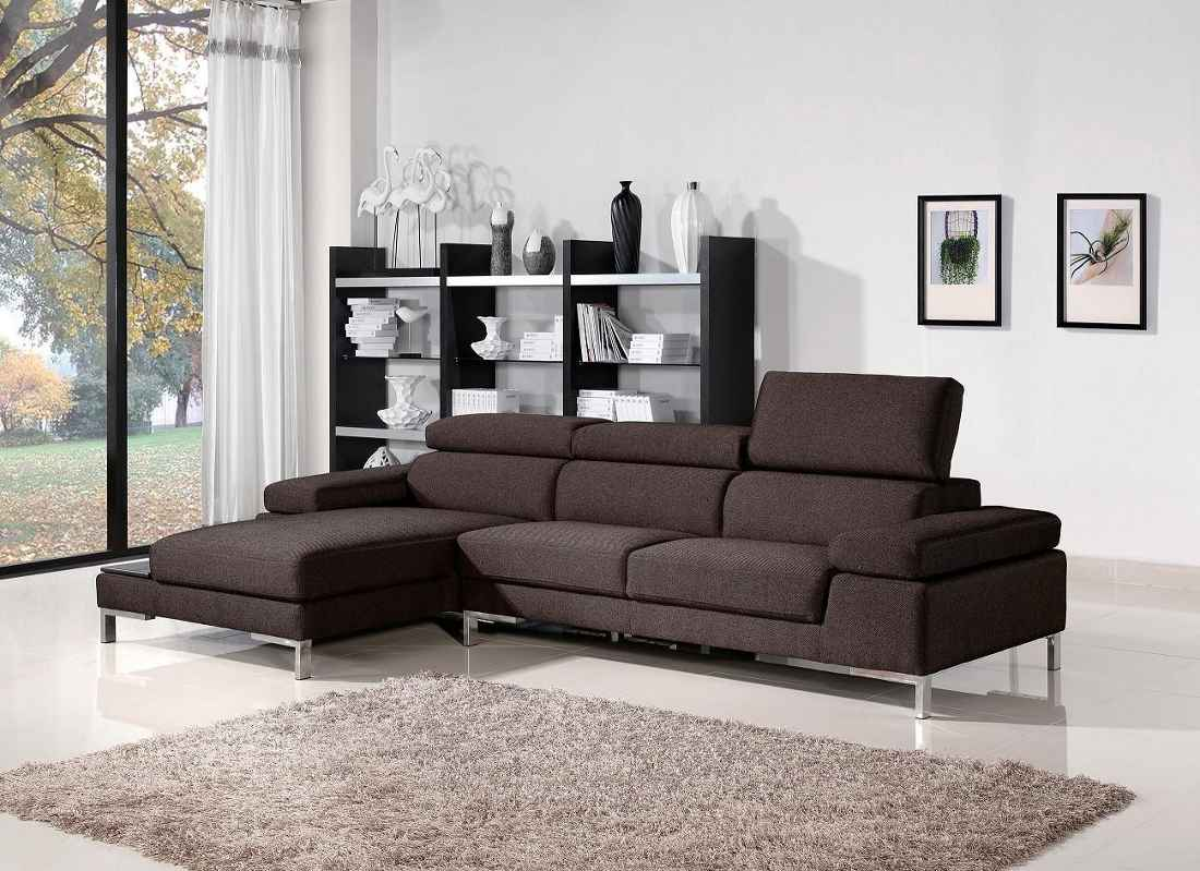 Fabric Dark Brown Home Sectional Sofas Royce Two Tone Brown