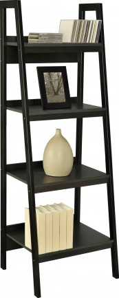 Home Office Dark Finish Leaning Ladder Bookcase