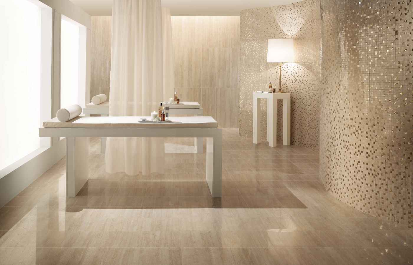 Porcelain tile flooring benefits for Bathroom porcelain tile designs