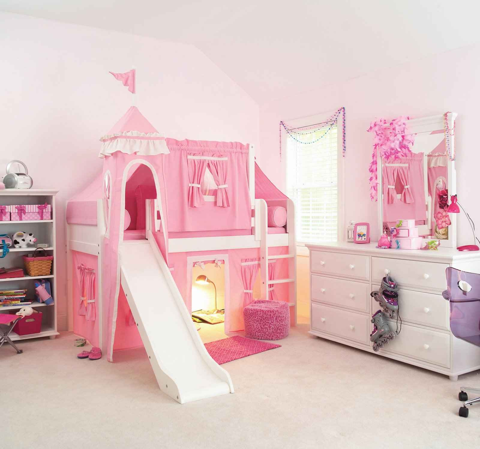 Girly Princess Bedroom Ideas: Girls Castle Loft Bed