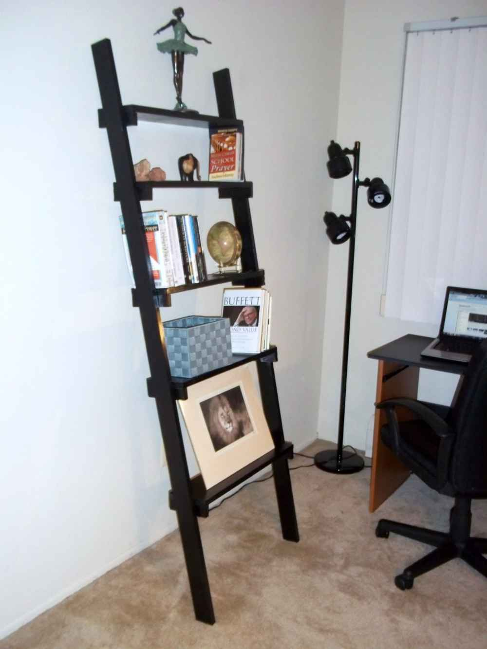 ladder signature bookcases home office dark finish leaning ladder ...