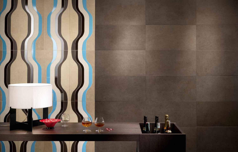 Panaria wall porcelain type tiles in dark brown