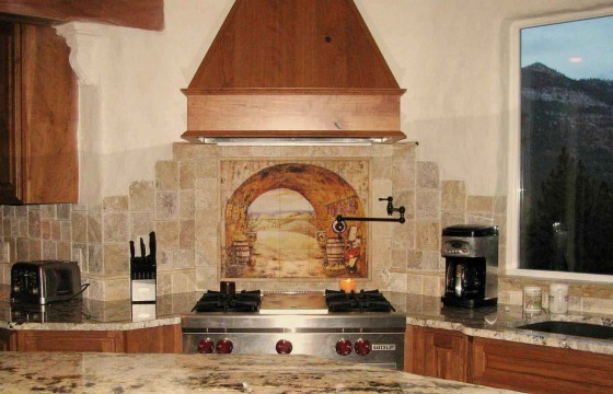 Tuscany tumbled stone marble kitchen backsplash
