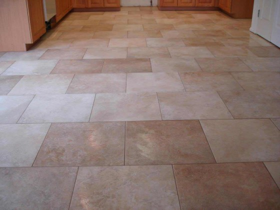 kitchen tile floor with brick pattern