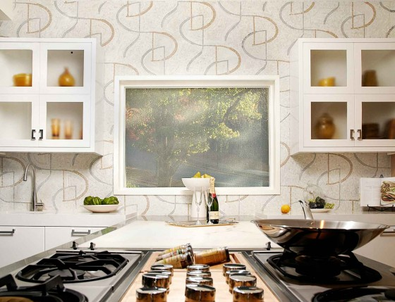 stylish stone mosaic backsplash design