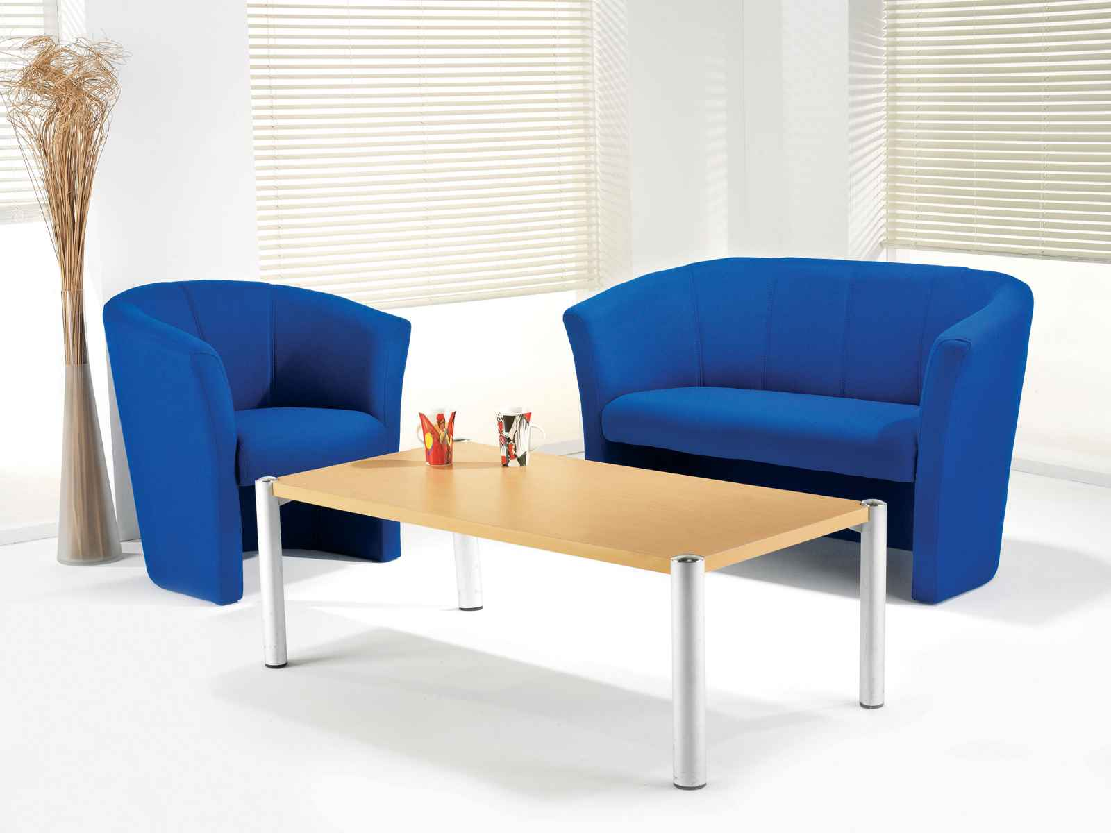 Blue Cheap Living Room Chairs and Table