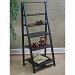Cape nantucket black leaning ladder bookshelf