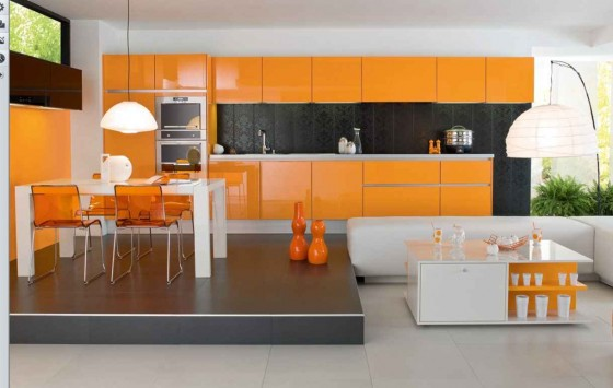 Cheap Cabinets for Kitchens in Orange Shade