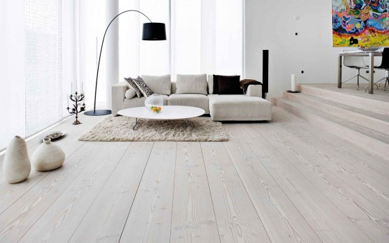 Designer White Shade Wooden Flooring for Living Room
