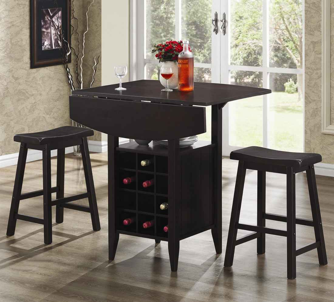 Los Angeles Small Home Bar Sets in Black Wood