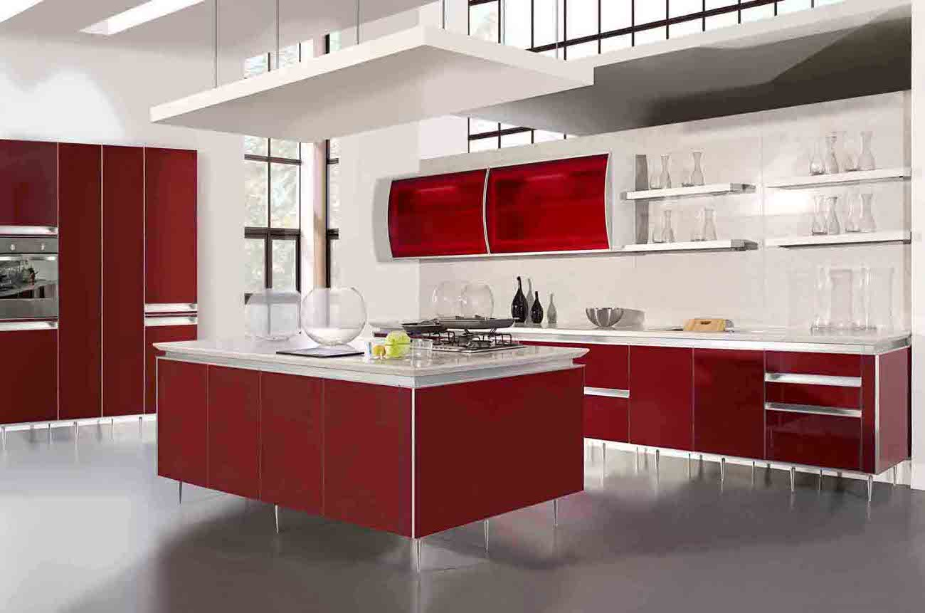 Modern home red kitchen cabinet design