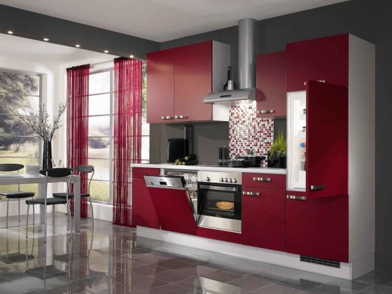 Red Rose Modern Kitchen Cabinets in Discounted Price