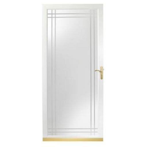 White Brass Glass Storm Door