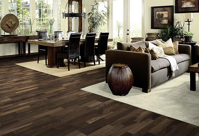 Living room dark wood floors