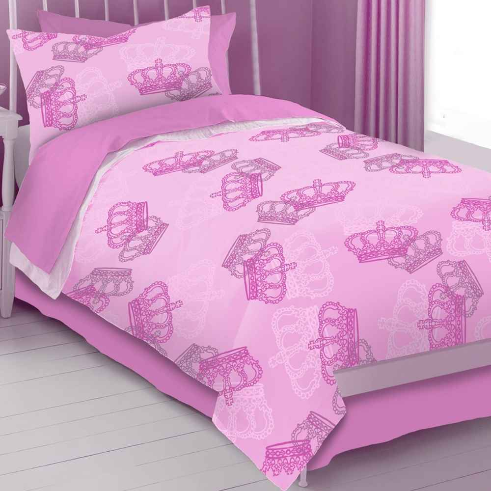 pink queen size girls crown bedspreads