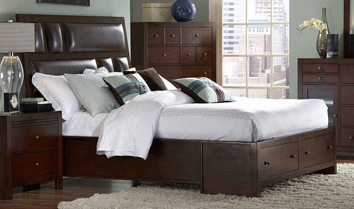 Homelegance bottom drawer platform beds in inglewood sliegh