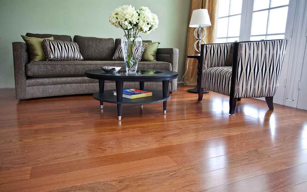 Cherry wood floor ideas for Living room with wood floors