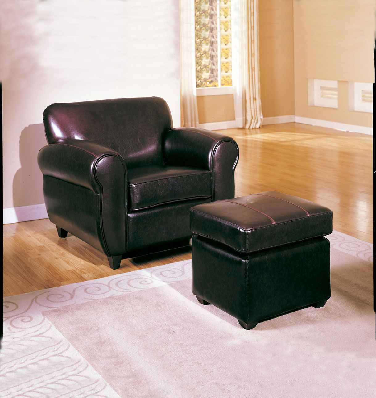 Metro Accent Chair with Ottoman in Espresso
