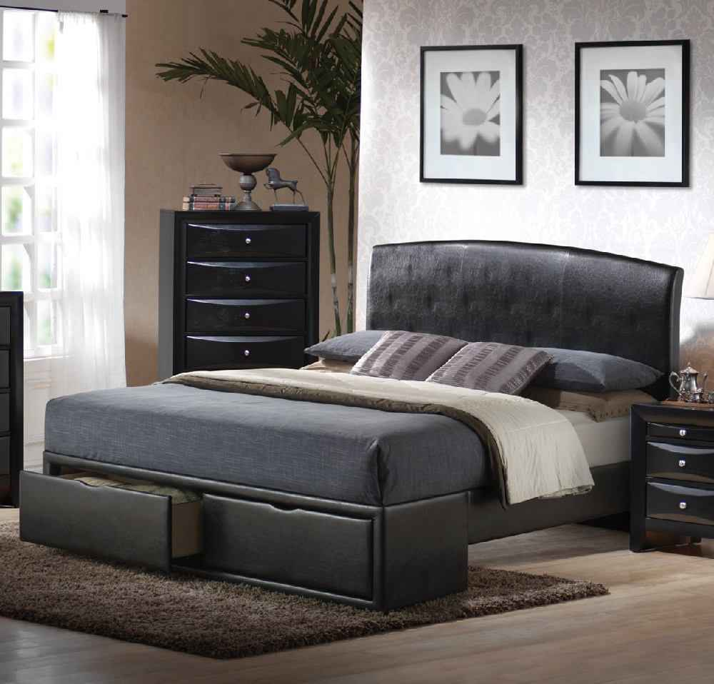 Modern cheap queen size beds with bottom storage
