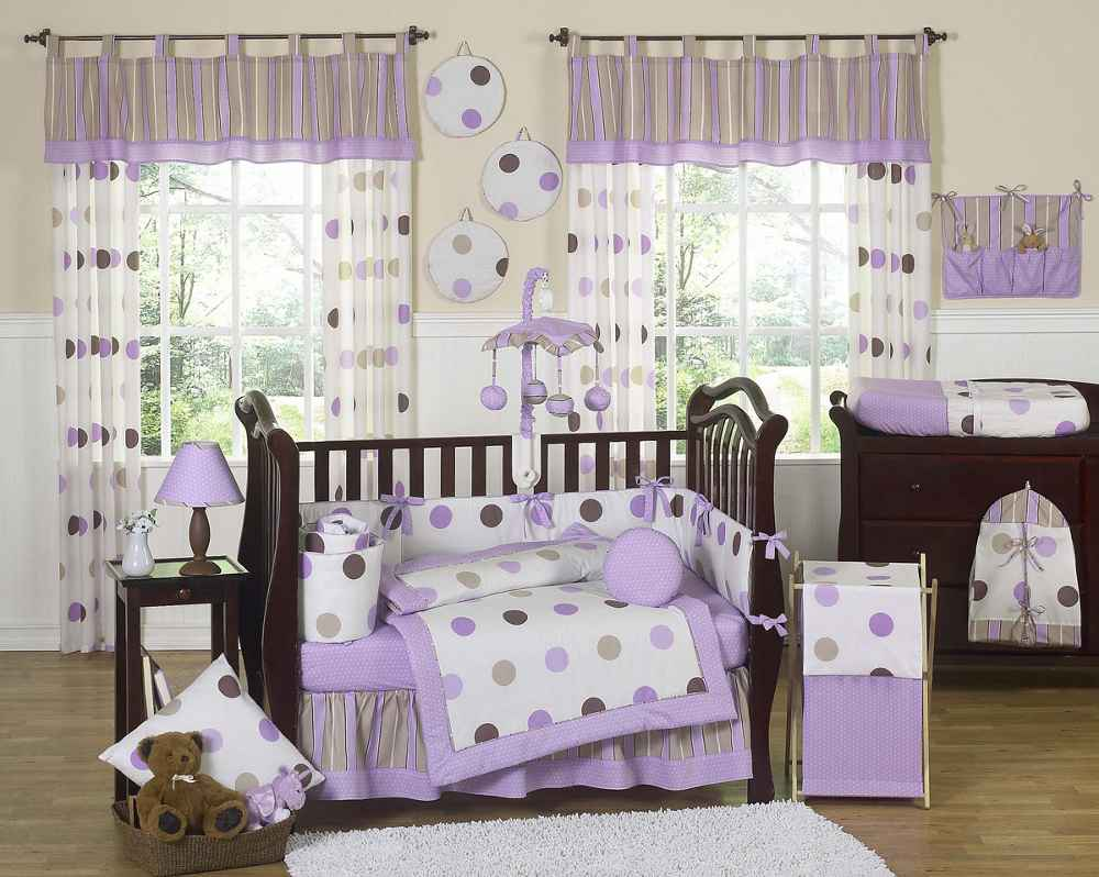 Purple Cribs Bedding with Mod Dots Style