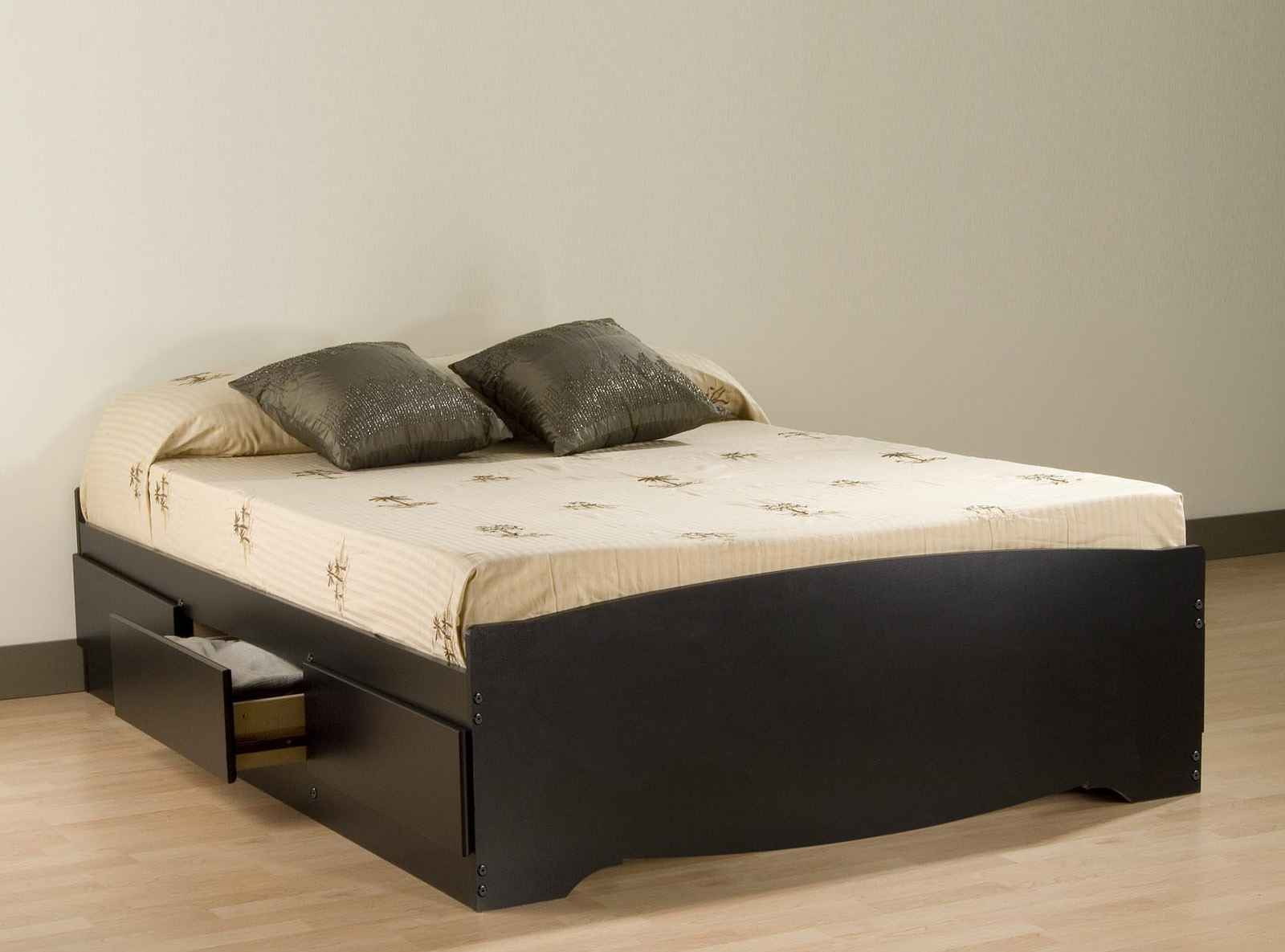 Queen Size Black Platform Storage Beds