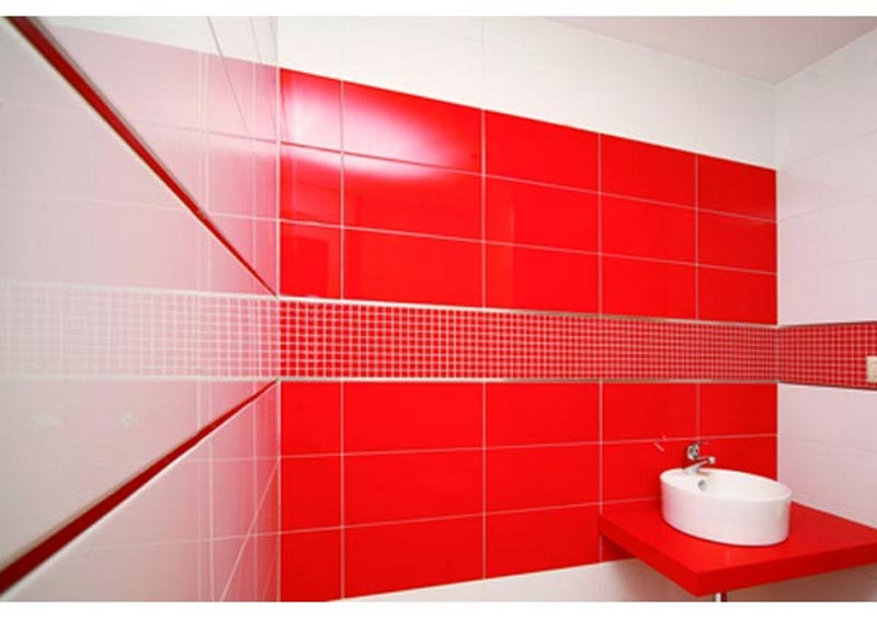 Shiny Red ceramic tile for Bathroom
