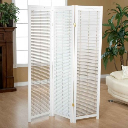 Tranquality white wooden room separator panel