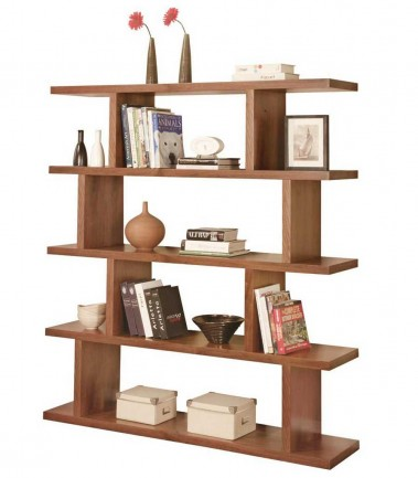 Walnut room divider bookcase