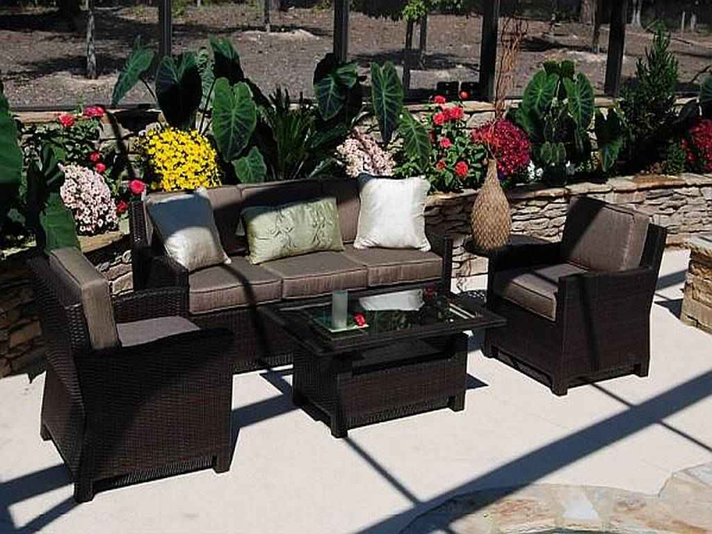 Black wicker patio furniture sets for Outdoor patio furniture sets