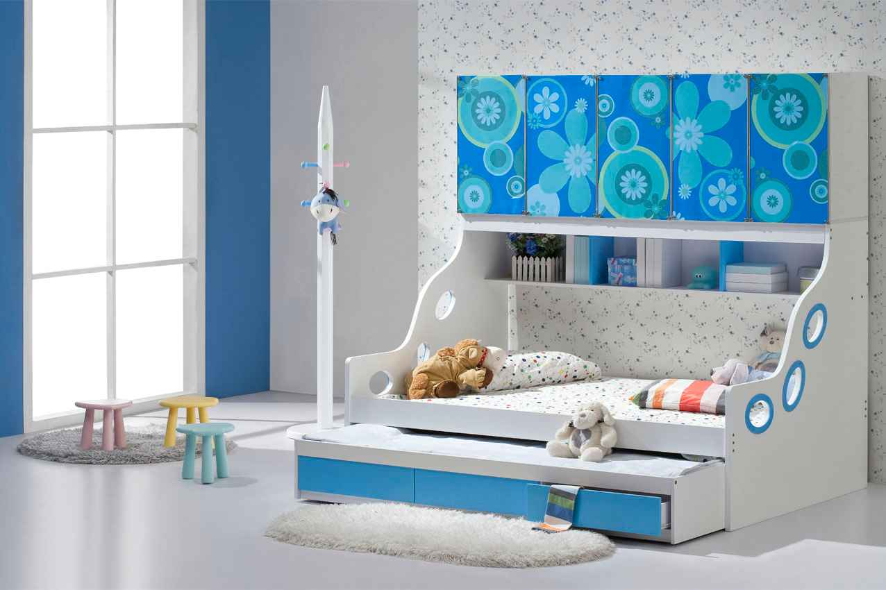 Trundle bed conversion to king size for Modern kids bunk beds