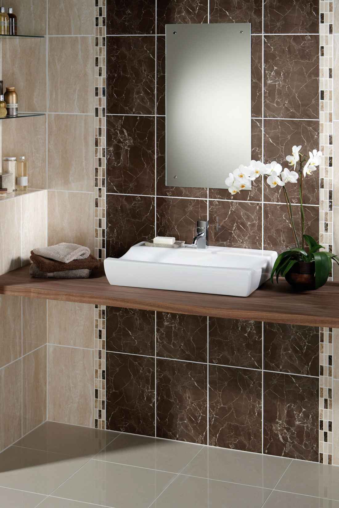 Decorated brown porcelain bathroom tiles