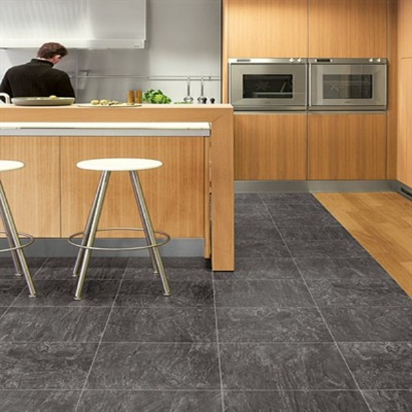Laminate porcelain stone kitchen tile in black