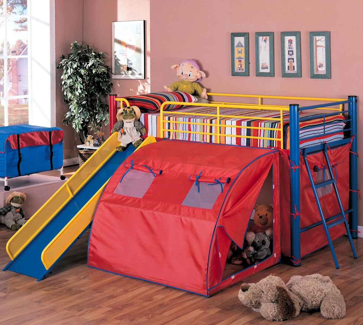Lofted Multicolor Slide Tent Bed from Coaster