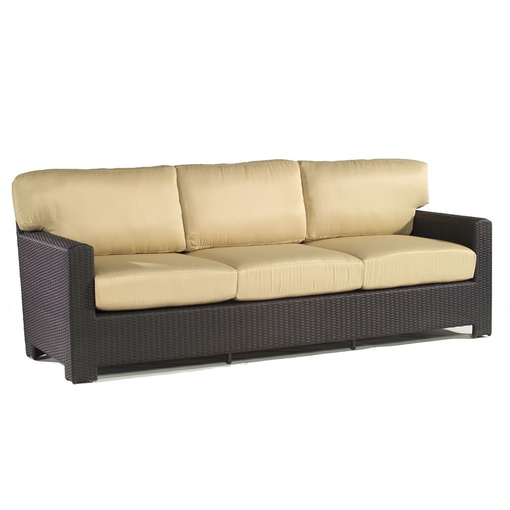 Milan Dark Brown Wicker Patio Cushions Sofa