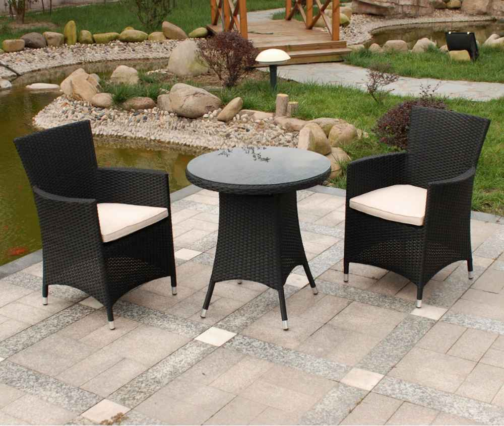 Royalcraft Cannes Black Rattan Chairs and Table