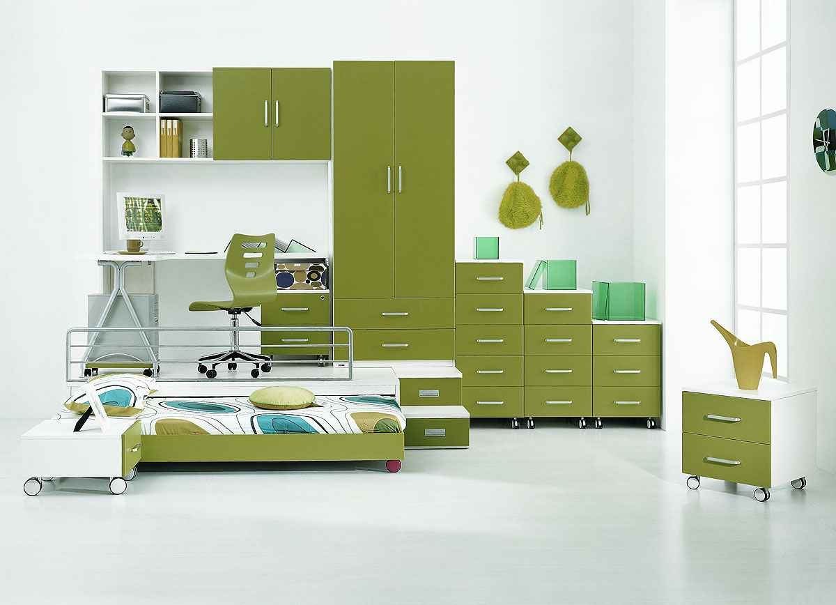White and Green Kids Platform Beds