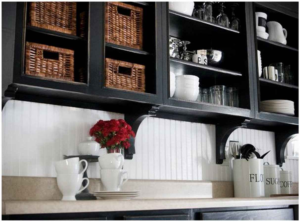 Wallpaper backsplash ideas for Backsplash ideas with black cabinets