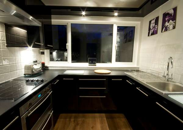 black gloss flooring for kitchen