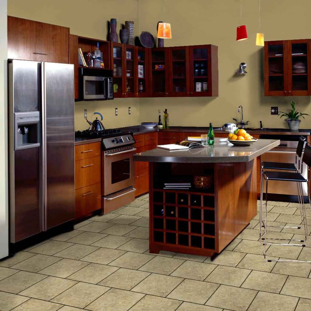 brick kitchen flooring feel the home. Black Bedroom Furniture Sets. Home Design Ideas