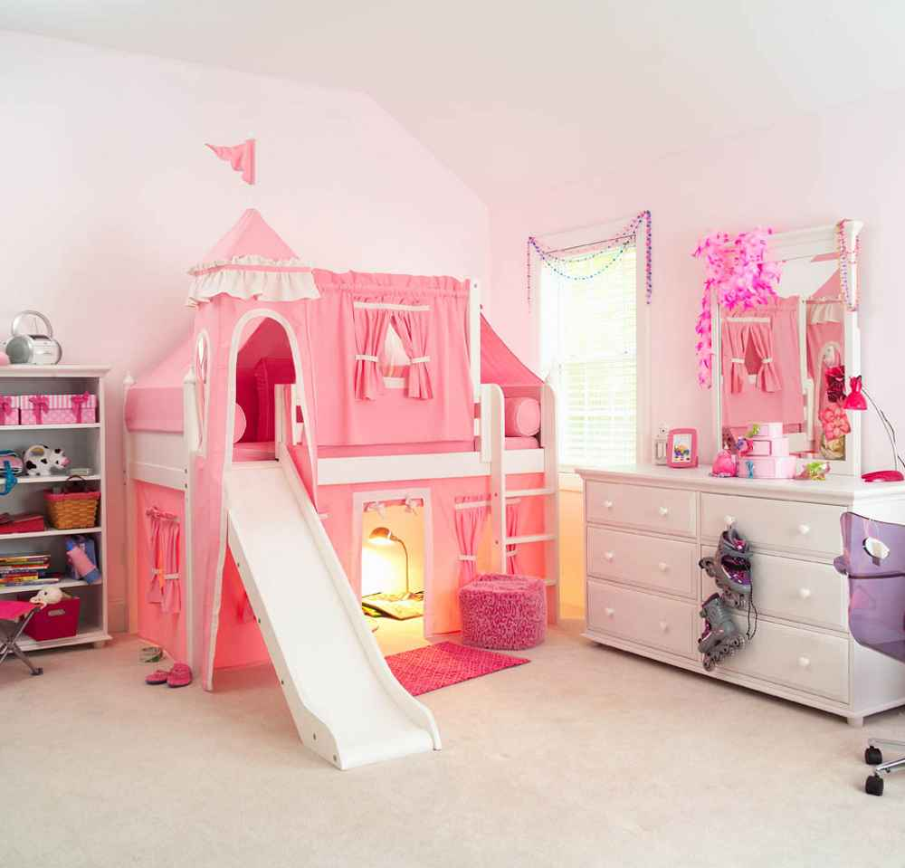 Maxtrix princess castle bed with slide