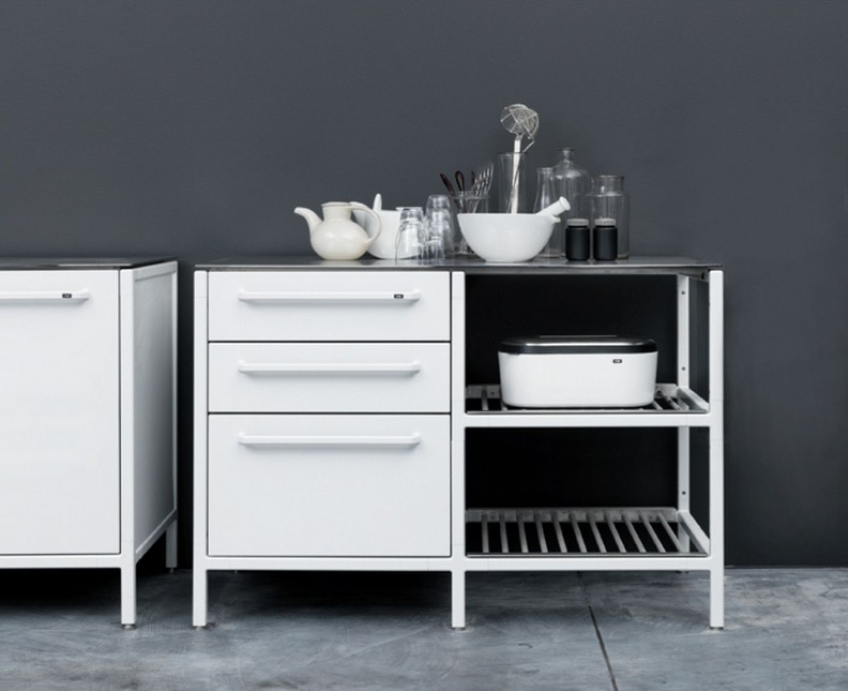 Modern Plain White Steel Cabinet