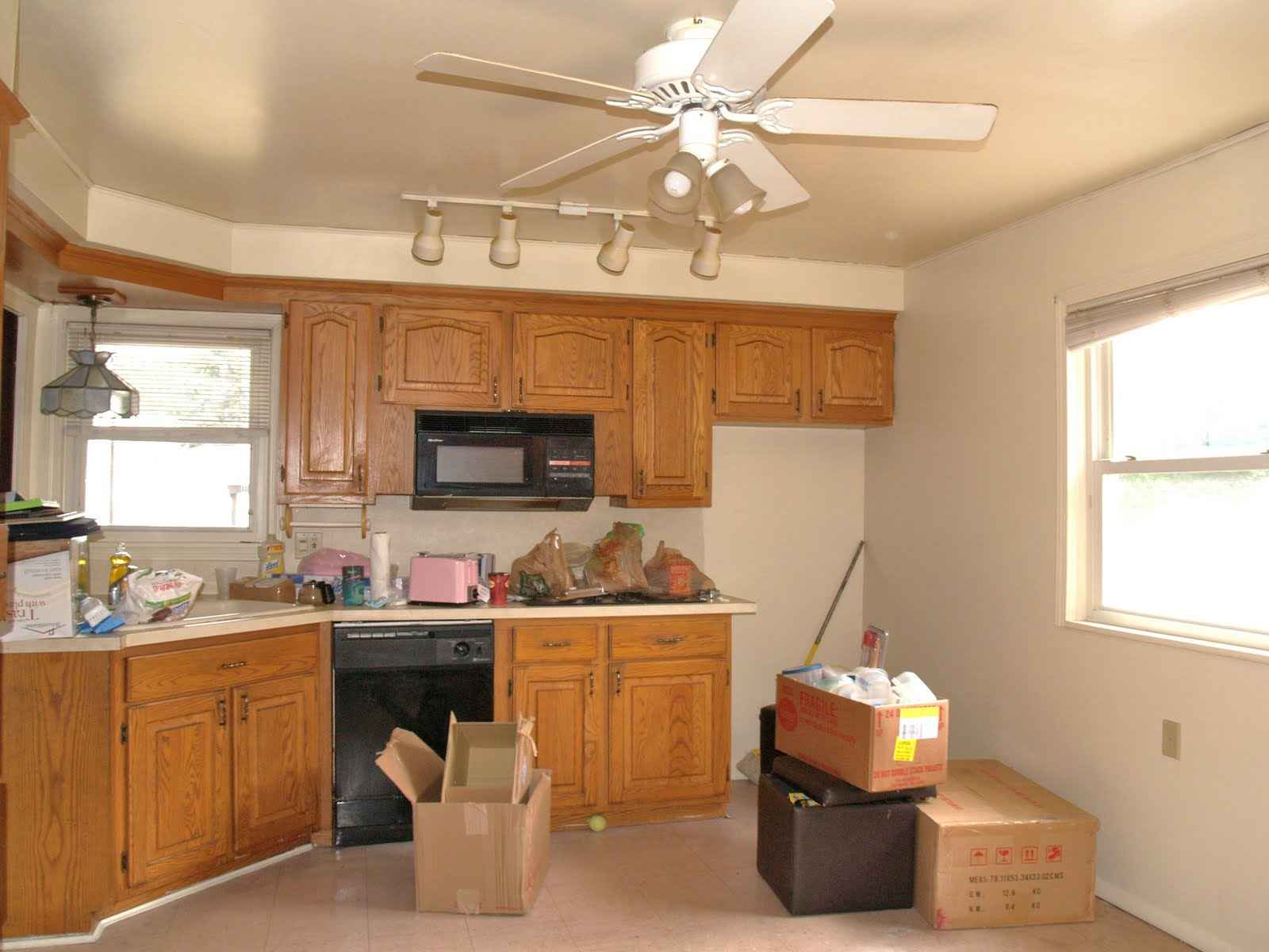 kitchen track lightning with ceiling fan
