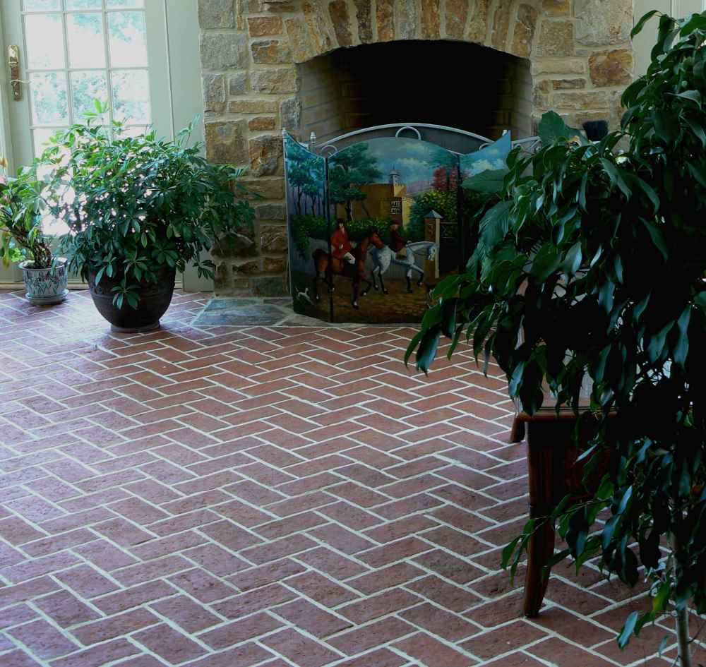 living room brick style flooring