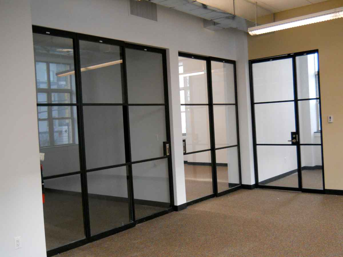 Glass Sliding Partition In Black Aluminum Frame