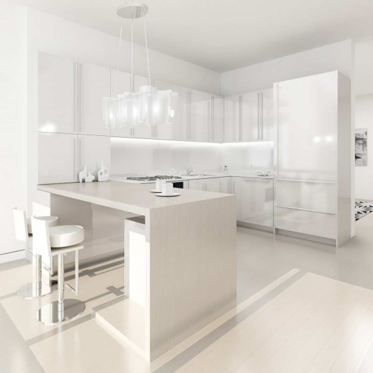 Modern Beadboard Cabinets in Glossy White Design